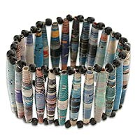 Recycled paper bracelet, 'The News is Blue'